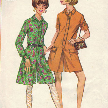 Simplicity 7244 Sewing Pattern 1960s Pantsuit Retro Style Jumper Button Front Top Culotte Pants Shorts Long Short Sleeves Bust 32
