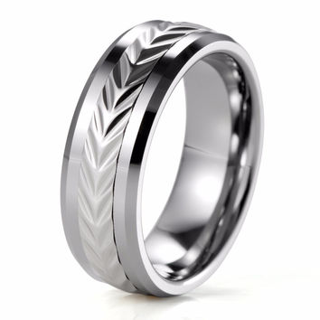 SHARDON Men's Tungsten Two-Tone with Stainless steel Pattern Spinner Wedding Ring Engagement ring