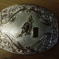 Montana Silversmiths Large Gold Flourish Rectangular Western Belt Buckle with Barrel Racer - 2920-667