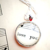 Sheet music necklace  Silver pendant with real by GildedNotes