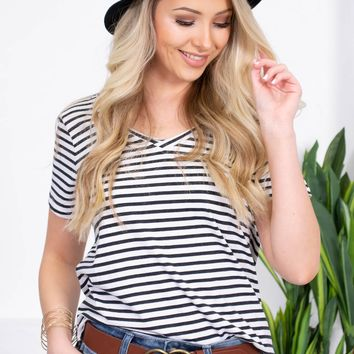 Basic Striped V-Neck Top | Navy