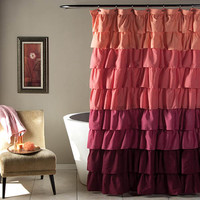 Lush Decor C24768P14-000 Ruffle Peach and Plum 72 x 72-Inch Shower Curtain
