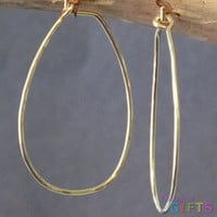 "Hammered drop hoops only (no stone), 1-1/2"" Earring Gold Or Silver"