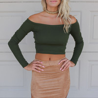 Into You Olive Long Sleeve Off The Shoulder Crop Top