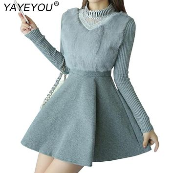 YAYEYOU 2017 Autumn Winter Women's Sweaters Dresses Wool Patchwork Pattern Slim  Vintage Dress Long Sleeve Knitting Dress