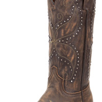 Women's Addie Butterfly Snip Toe Cowgirl Boot - Vintage Saddle