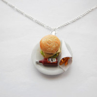 Burger And Chips Food Pendant Necklace