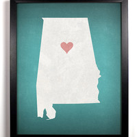 State Love Alabama Print (Pictured In Teal) Giclee, Art Print 8 x 10