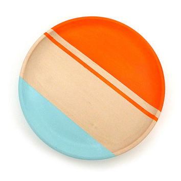 Neon wood plate, painted wood decor, jewelry storage, neon orange and robin's egg blue