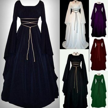 Women's Vintage Style Medieval Dress Floor Length Cosplay Dress Retro Dress - Free Shipping