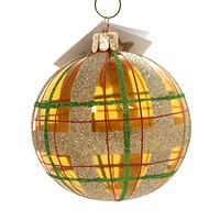 Golden Bell Collection PLAID GLITTER BALL Glass Hand Painted Bm1077 Gold