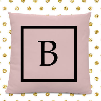 Initial Pillow - Letter Pillow - Pillow with Letter B - Monogrammed Pillow - Custom Throw Pillow - Pink Letter Pillow