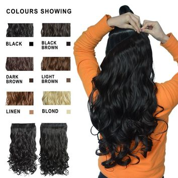 2017 New Sexy Women s Curly/Wavy Long Clip On Hair Extensions 100% Real Natural Wigs