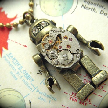 Robot Necklace Steampunk Tiny Vintage Watch by CosmicFirefly