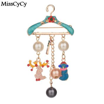 MissCyCy Imitation Pearl Brooches Pins Cute Deer Pendant Jewelry Gold Color Rhinestone Brooches For Women Christmas Gifts