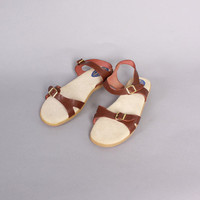 Vintage 70s SANDALS / 1970s Brown Leather Boho Flat Sandals 10 New Unworn Old Stock