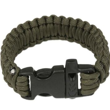Paracord Survival Bracelet With Survival Whistle, Fits 7-9 Inch Wrists, Green