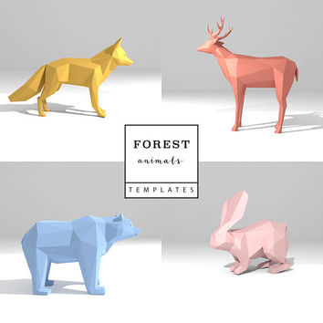 Set of 4 Printable DIY templates (PDF). Forest Animals low poly paper models: Deer, Fox, Rabbit, Bear. 3D animal paper sculpture. Origami.