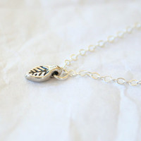 Petite Sterling Leaf Necklace - Simple everyday delicate dainty jewelry
