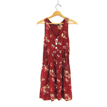floral print tunic top dress mini babydoll dress Dark Red ROSES Rayon Flirty dress with Shell Buttons Sleeveless Boho Chic frock size XXS