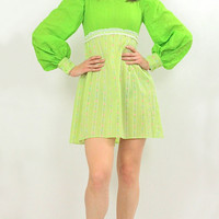 Vintage 60s 70s Boho Hippie Neon Gingham plaid mini dress