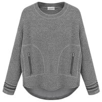 Gray High-low Drop Sleeve Sweatshirt - Choies.com
