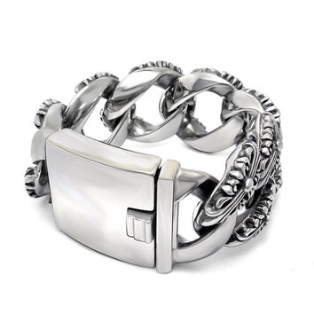 Great Deal Awesome Shiny Gift Hot Sale Stylish New Arrival Vintage Cross Men Titanium Style Bracelet [6526712899]