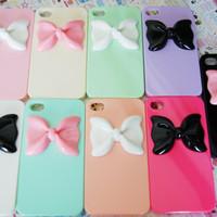 SALE: YOU CHOOSE Pastel Medium Bowtie Candy Colors Iphone 4 4s Rainbow Designer Elegant Decoden Cell Phone Case