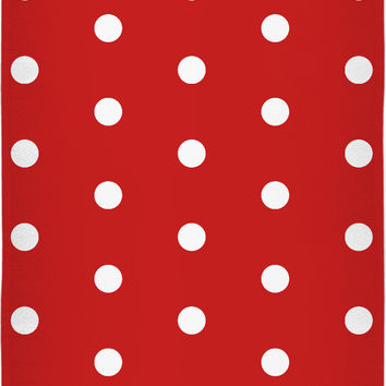 Retro style beach, bath towel, bright red and white polka dot pattern, vintage design