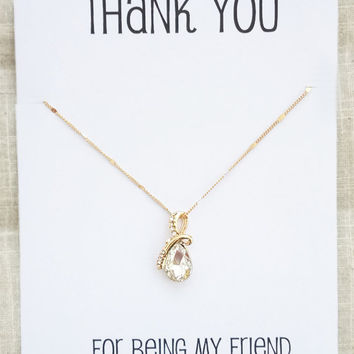 Thank you for Being my Friend Water Drop Crystal Pendant Gold Toned Chain Necklace