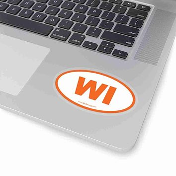 Wisconsin WI Euro Oval Sticker ORANGE