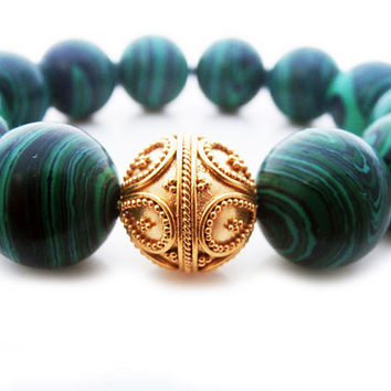 Green Malachite and Gold Vermeil Bracelet, Green Malachite Gemstone and 22 Carat Gold Vermeil Bali Granulation Bead Bracelet