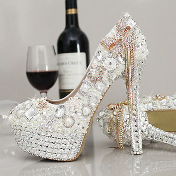 Tassle Peacokc Shoes Lady Colored Sparkly Rhinestone Bridesmaid Wedding Prom Evening Dress Pumps Shoes