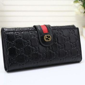 PEAPON Gucci' Women Purse Retro Fashion Personality Embossed Long Section Double Layer Button Flip Wallet Handbag