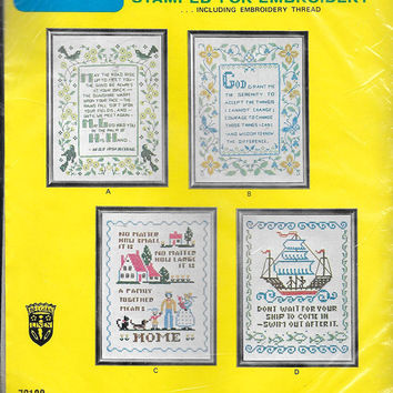 Family Home Sampler Saying Belgian Linen Vintage Sampler Kit Stamped Saying Needlework Kit Number 7013C New Old Stock DIY Unopened