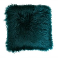 Designer Dark Teal Mongolian Fur Throw Pillow