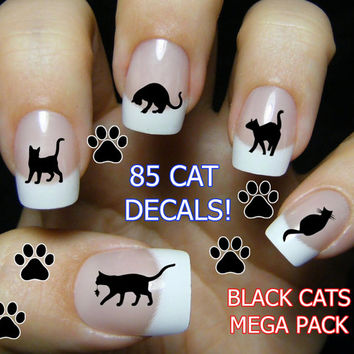 Free Shipping - 85 BLACK CATS (BC3) Nail Art Water Slide Transfer Decals Mega Pack - Cat lovers Wraps Nail not Stickers