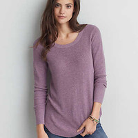 AEO Crew Jegging Sweater, Holiday Heather Brown