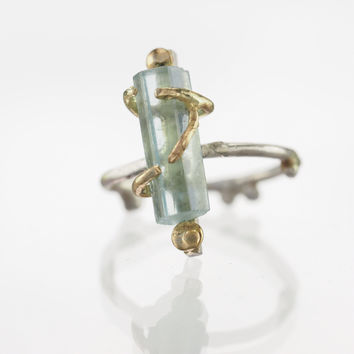 Raw Aquamarine Crystal Gold Wrapped Ring