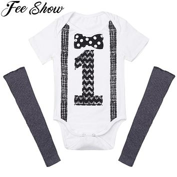 2Pcs9-12Months  Infant Baby Boys Outfit Short Sleeves Printed Number ONE First Birthday Romper+Leg Warmers Newborn Baby Boy Set
