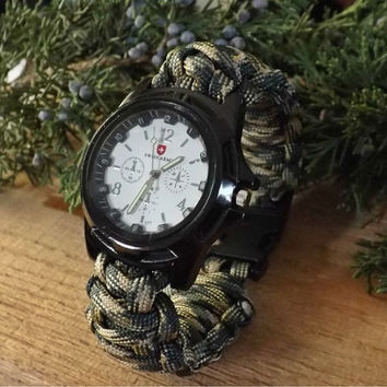 Survival Watch Swiss Army White Facing and Black Casing Paracord  Watch With 5/8 Buckle Custom Made