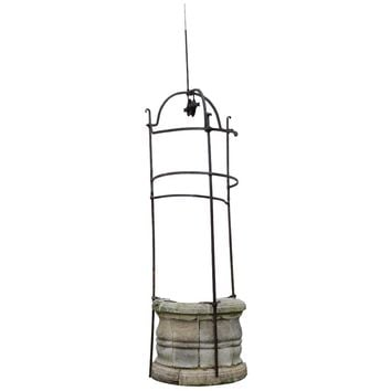 French Louis the 14th Period Stone and Wrought Iron Well Curbstone, 17th Century