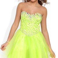 Strapless Short Prom Dress with Stone Corset Bodice and Mesh Skirt