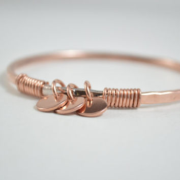 Personalize Copper Bangle, Copper Bangle, Copper Bracelet, Copper Wire Wrap, Copper Wire Jewelry, Unisex Jewelry, Unisex Bangle, Wire Wrap