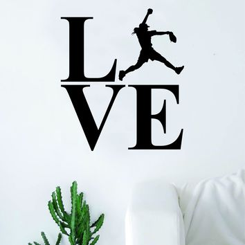Love Softball Silhouette Sports Decal Sticker Wall Vinyl Art Home Decor Teen Nursery Baseball Girls