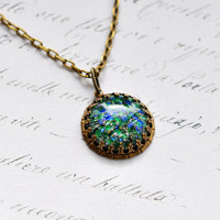 Green Opal Necklace, vintage glass opal in bamboo setting
