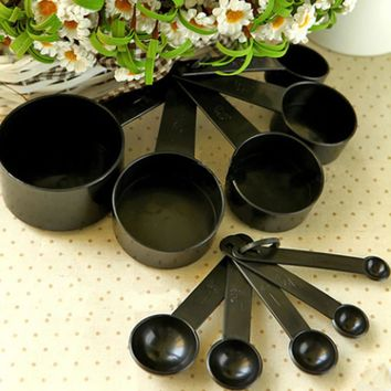 Black Plastic Measuring Cups 10pcs/lot Measuring Spoon Kitchen Tools