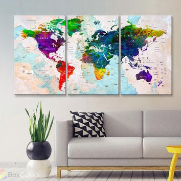 "LARGE 30""x 60"" 3panels 30x20 Ea Art Canvas Print Watercolor Multi Color Map World Push Pin Travel M1807"