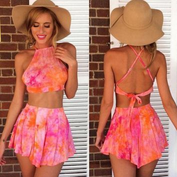 DCCKL72 Backless Tie Dye Two-Piece Suit