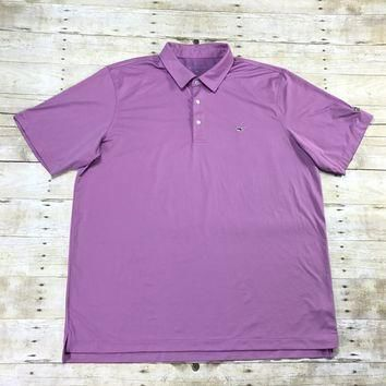 Vineyard Vines Pink / Blue Striped EZGO Golf Polo Shirt Mens Size XXL